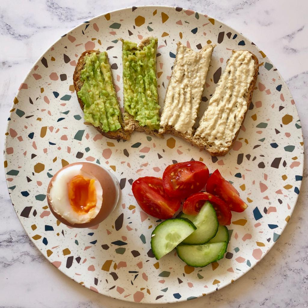 Dippy Eggs with Hummus & Avocado Soldiers